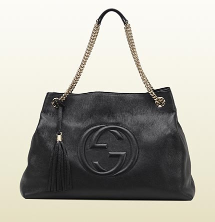 Gucci soho black leather tote with double chain straps