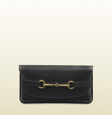 Gucci bright bit black leather clutch