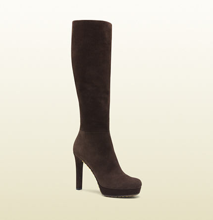 Gucci anouk brown suede high heel boot
