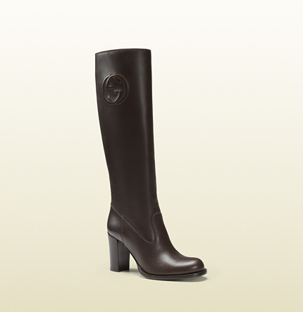 Gucci brown leather mid-heel boot