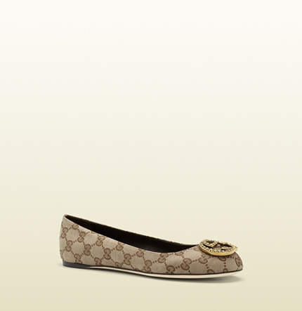 Gucci new interlocking original GG canvas ballet flat