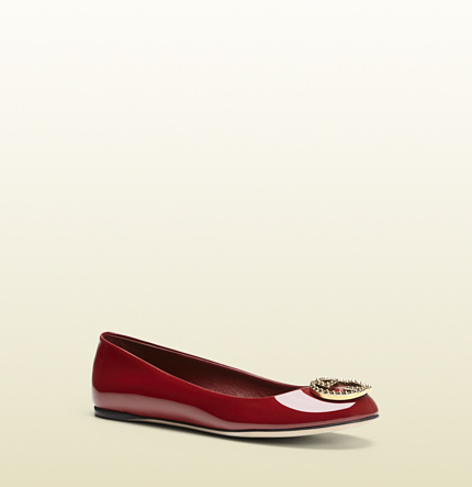 Gucci new interlocking patent leather ballet flat
