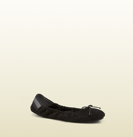 Gucci black suede ballet flat from viaggio