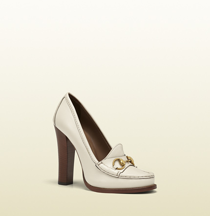 Gucci alyssa off-white leather high-heel loafer
