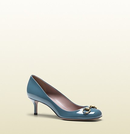 Gucci jolene light blue patent leather pump