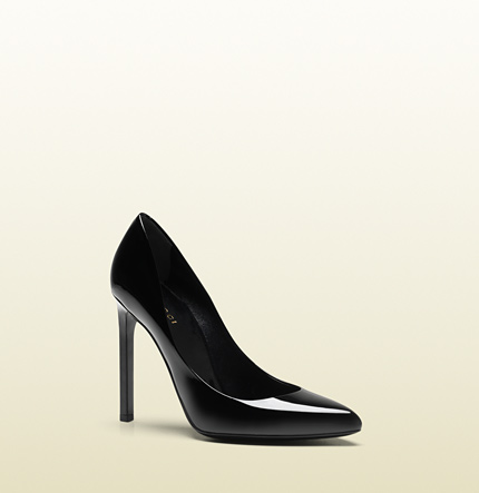 Gucci gloria black patent leather high heel pump