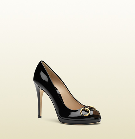 Gucci new hollywood open-toe high heel platform pump