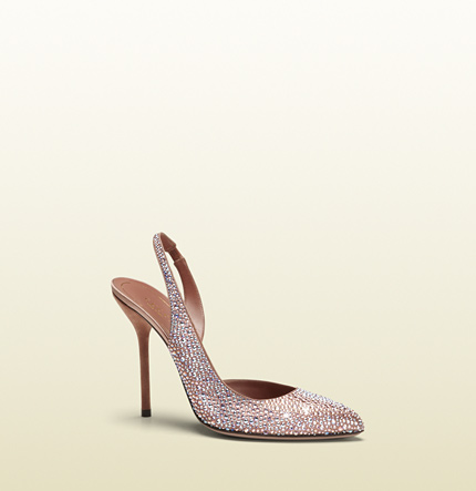 Gucci pink crystal dorsay high-heel sling-back