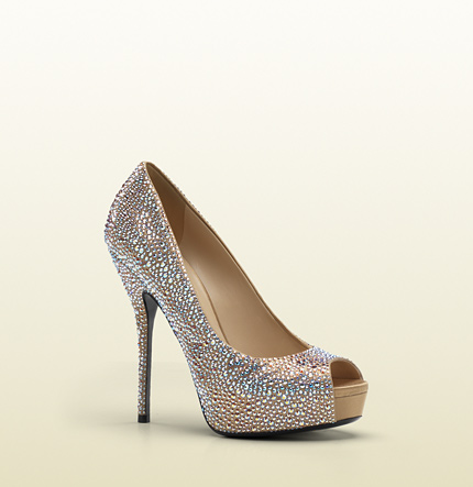 Gucci sofia etoile high heel open-toe platform with strass embroidery.