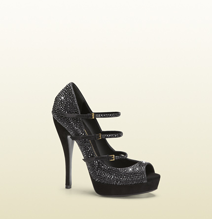 Gucci black crystal high-heel platform pump