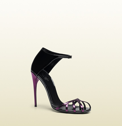 Gucci margot patent leather cage sandal