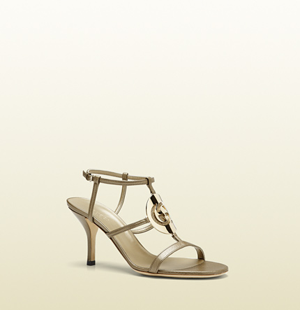 Gucci new GG cage metallic leather mid-heel sandal