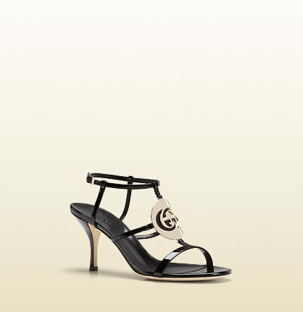 Gucci new GG cage interlocking G disc mid heel sandal