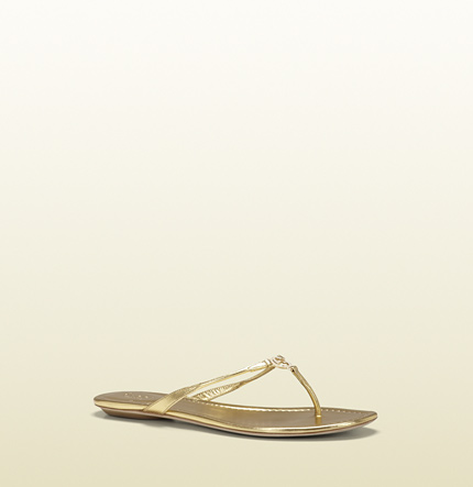 Gucci elaine gold metallic leather thong sandal