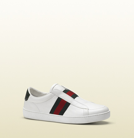 Gucci brooklyn white leather slip-on sneaker