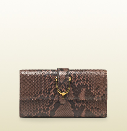 Gucci pink tan shiny python spur continental wallet