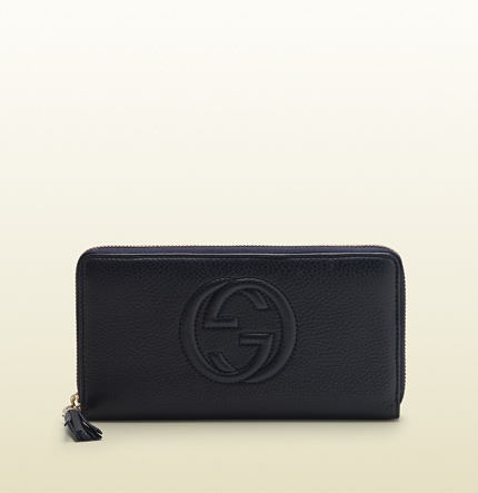 Gucci soho blue leather zip around wallet