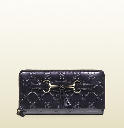 Gucci emily shiny guccissima leather zip around wallet