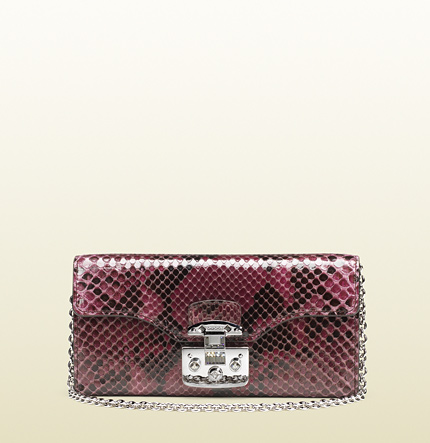 Gucci lady lock python chain wallet