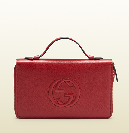 Gucci red leather travel document case