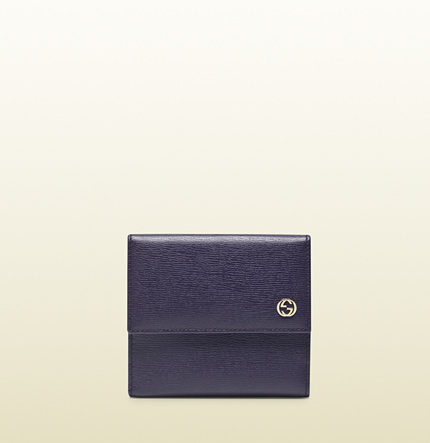 Gucci leather french flap wallet with polka dot interior