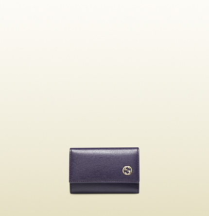 Gucci leather key case with polka dot interior