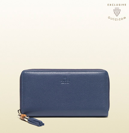 Gucci exclusive blue leather zip around wallet