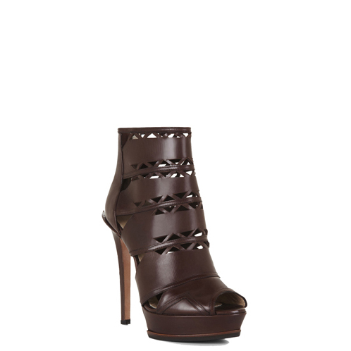 HERVE LEGER LILAH LASER-CUT BOOTIE BROWN