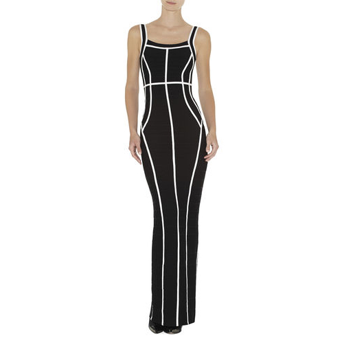 HERVE LEGER HELENA BORDER-BANDING DRESS BLACK COMBO