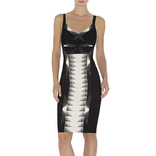 HERVE LEGER BURKE MINIMAL WAVE JACQUARD DRESS BLACK COMBO