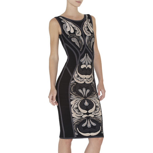 HERVE LEGER DREE PAISLEY JACQUARD SLEEVELESS DRESS GUNMETAL COMBO