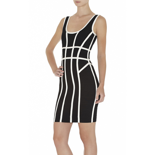 HERVE LEGER MAE BORDER-BANDING DRESS BLACK COMBO