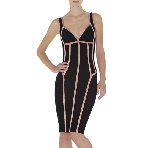 HERVE LEGER GAYL BORDER-BANDING DRESS BLACK COMBO