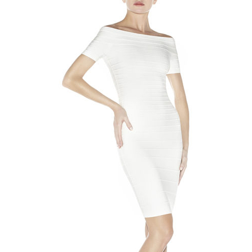 HERVE LEGER CARMEN OFF-THE-SHOULDER BANDAGE DRESS ALABASTER