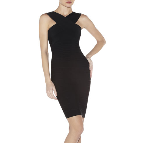 HERVE LEGER STELLA V-NECK DRESS BLACK