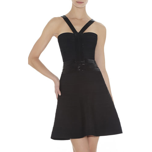 HERVE LEGER PORTIA BEADED-STRAPPING DRESS BLACK