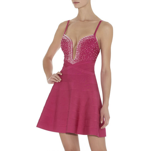 HERVE LEGER AUTUMN BEADED BANDAGE DRESS FUCHSIA