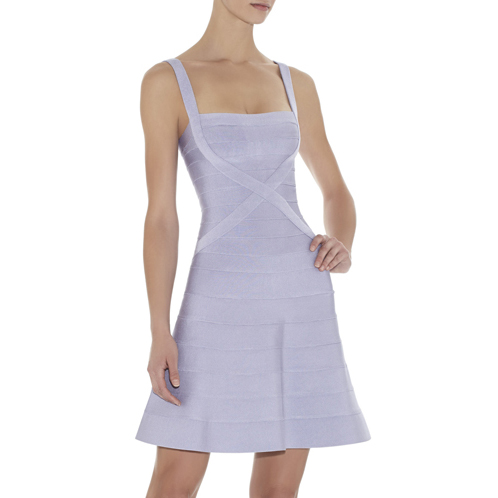 HERVE LEGER FAITH A-LINE BANDAGE DRESS HL DARK LAVENDER