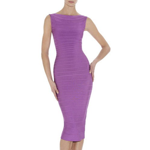 HERVE LEGER ARDELL BOATNECK BANDAGE DRESS BRIGHT VIOLET