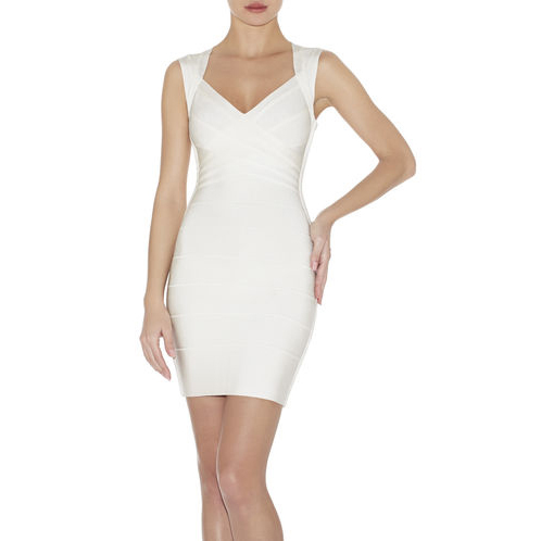 HERVE LEGER SARAI BANDAGE DRESS ALABASTER