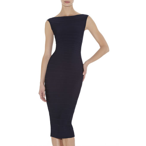 HERVE LEGER ARDELL BOATNECK BANDAGE DRESS PACIFIC BLUE