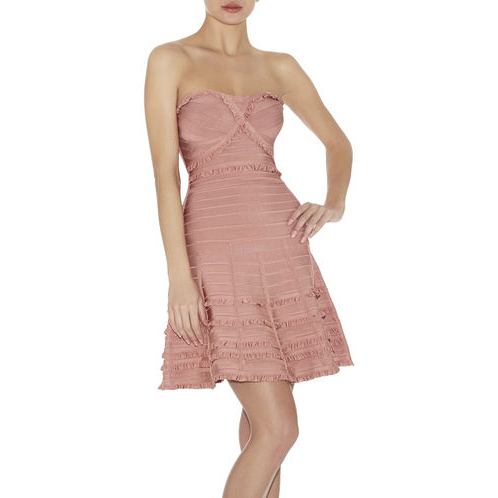 HERVE LEGER LILIAN TIERED-RUFFLE DRESS BLUSH POWDER