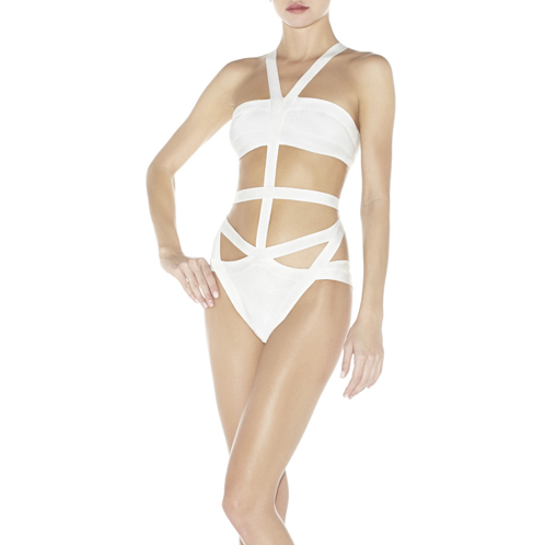 HERVE LEGER TAMARA SWIMSUIT ALABASTER