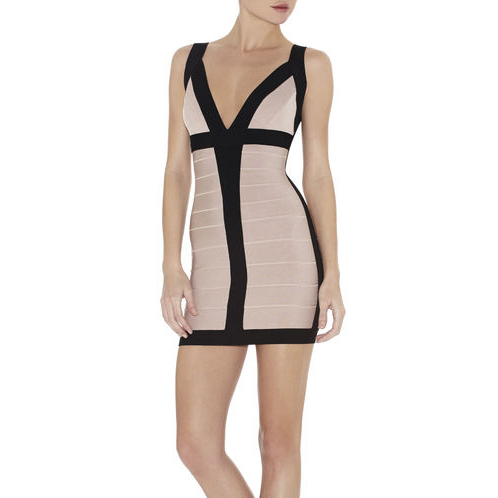 HERVE LEGER BILLIE COLORBLOCKED BANDAGE DRESS BARE COMBO