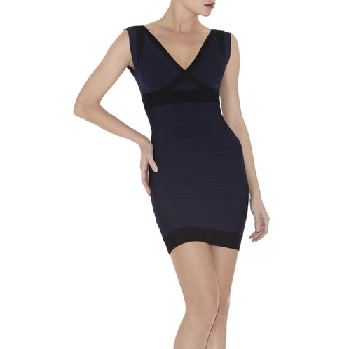 HERVE LEGER ILIA COLORBLOCKED DRESS PACIFIC BLUE COMBO
