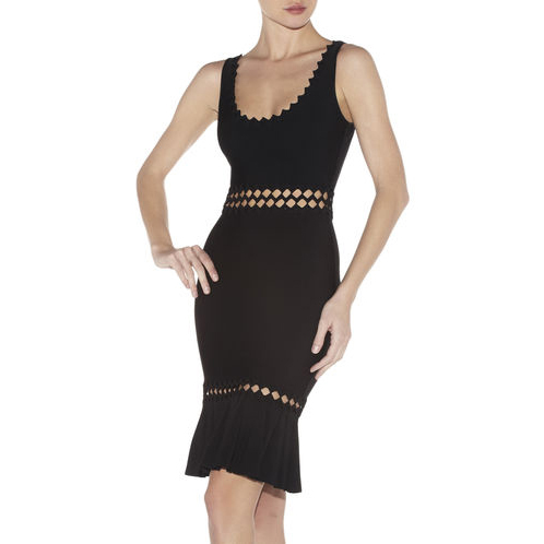 HERVE LEGER ANAIS DIAMOND OPEN-APPLIQUE DRESS BLACK