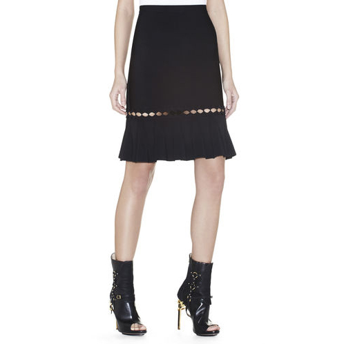 HERVE LEGER JAMYSEN DIAMOND OPEN-APPLIQUE SKIRT BLACK