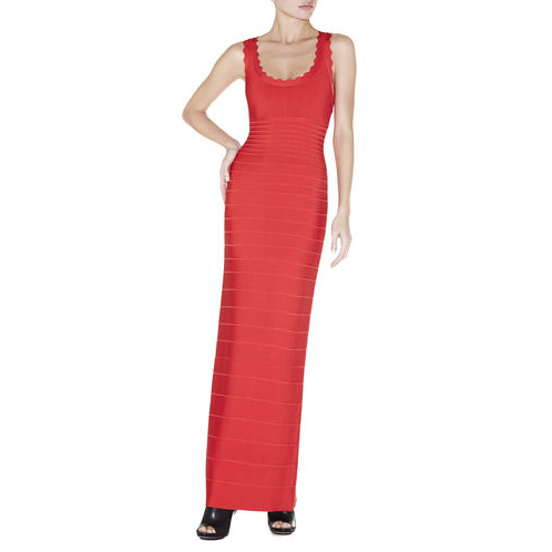 HERVE LEGER CLARISSA SCALLOPED BANDAGE DRESS CORAL POPPY