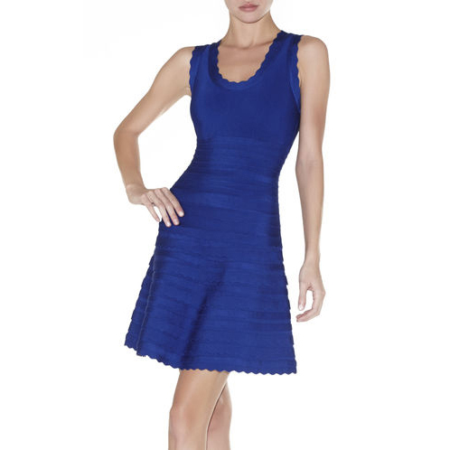 HERVE LEGER JULES SCALLOPED A-LINE BANDAGE DRESS BLUE SAPPHIRE