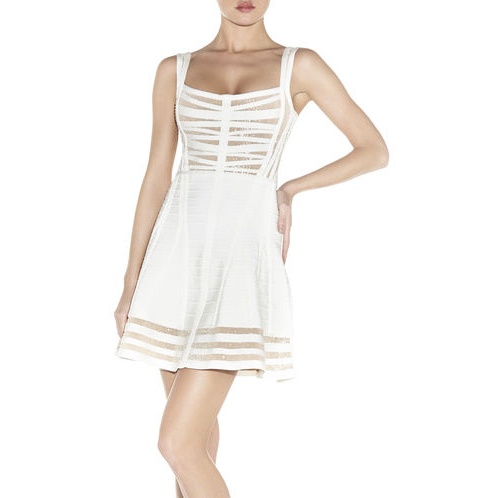 HERVE LEGER JOSEY RADIATING BEADED BANDAGE DRESS ALABASTER